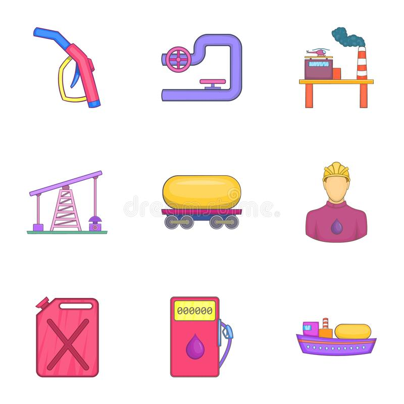 Download Ícones Ajustados, Estilo Do Petróleo Dos Desenhos Animados Ilustração do Vetor - Ilustração de desenho, energia: 80101871