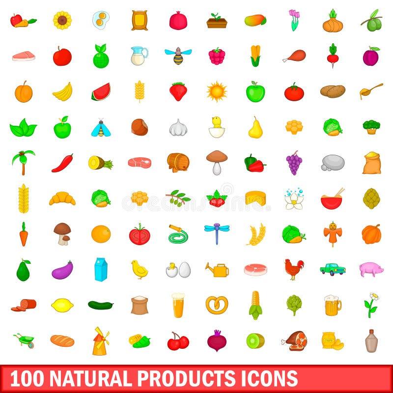 100 ícones ajustados, estilo do produto natural dos desenhos animados ilustração royalty free