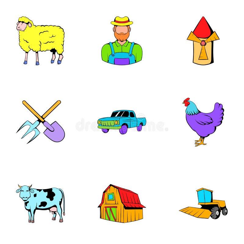 Ícones ajustados, estilo do rancho dos desenhos animados ilustração do vetor