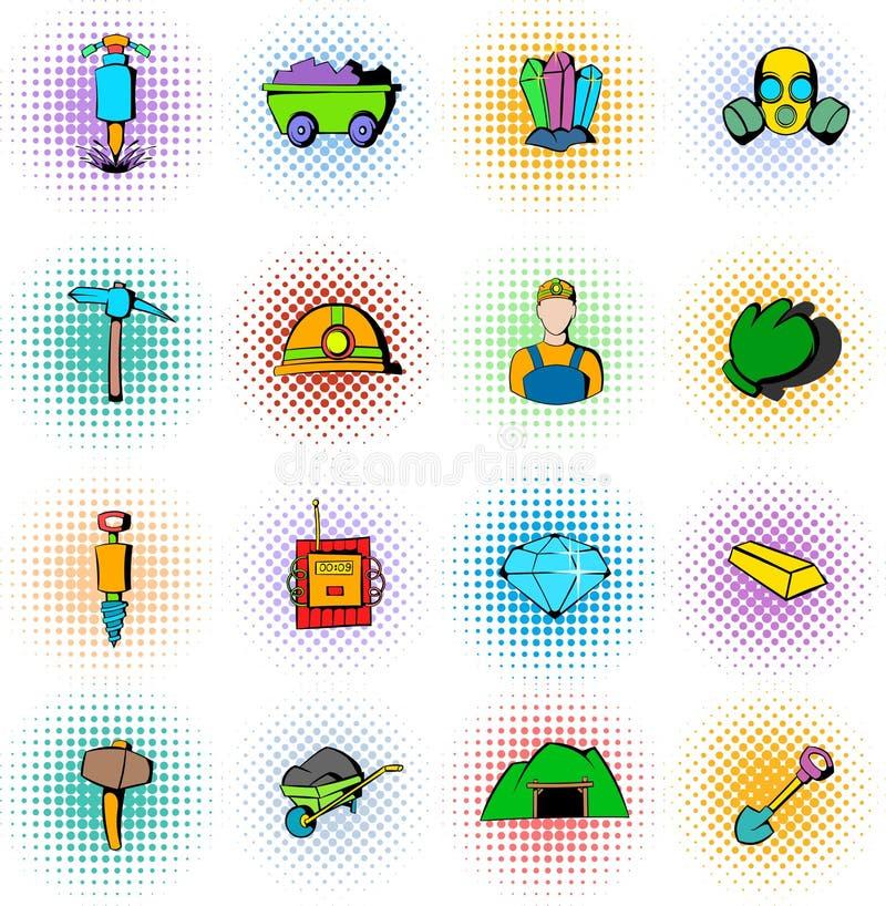 Ícones ajustados, estilo do setor mineiro da banda desenhada ilustração royalty free