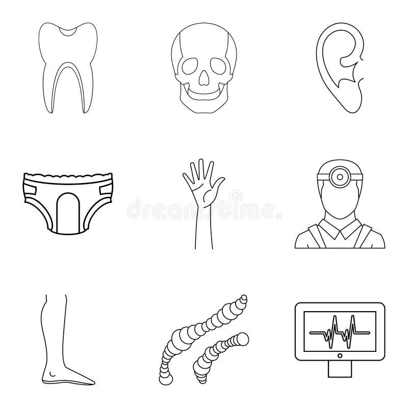 Ícones ajustados, estilo do sistema de saúde do esboço ilustração royalty free