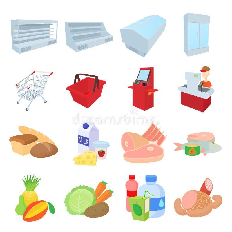 Ícones ajustados, estilo do supermercado dos desenhos animados ilustração stock