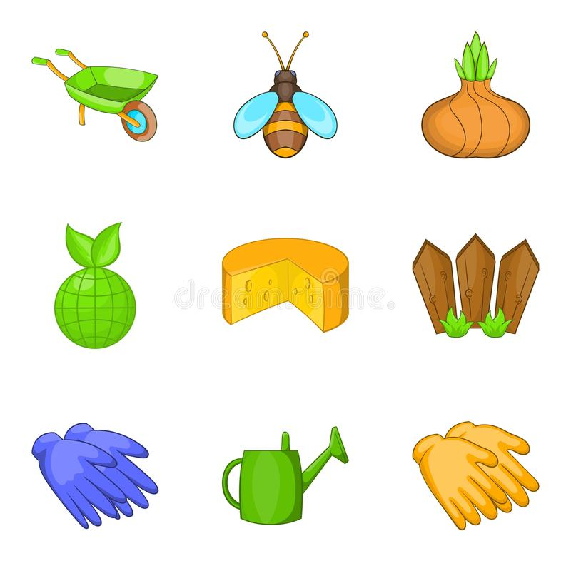 Ícones ajustados, estilo do tempo de colheita dos desenhos animados ilustração stock