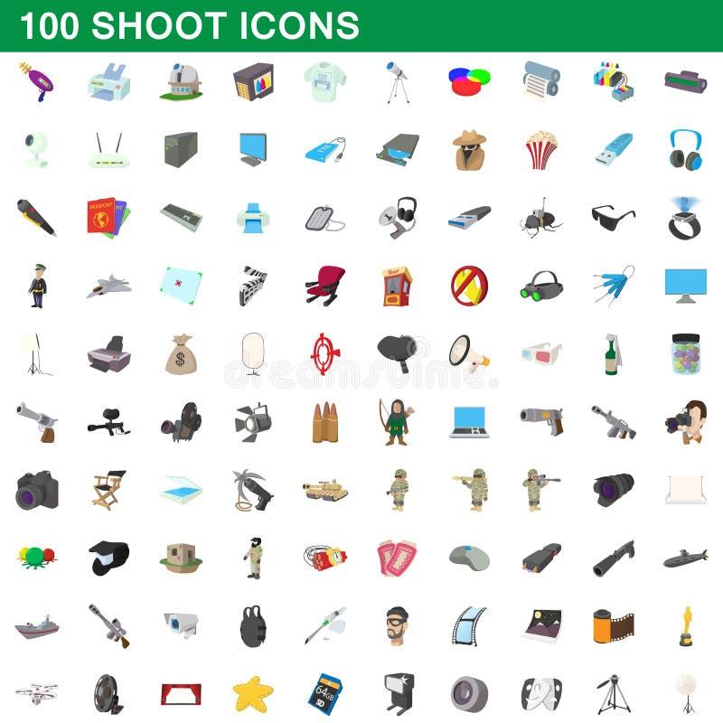 100 ícones ajustados, estilo do tiro dos desenhos animados ilustração royalty free