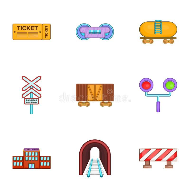 Download Ícones Ajustados, Estilo Do Trem Dos Desenhos Animados Ilustração do Vetor - Ilustração de barreira, locomotiva: 80101113