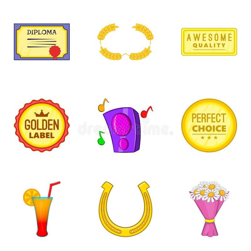 Ícones ajustados, estilo do tributo dos desenhos animados ilustração royalty free