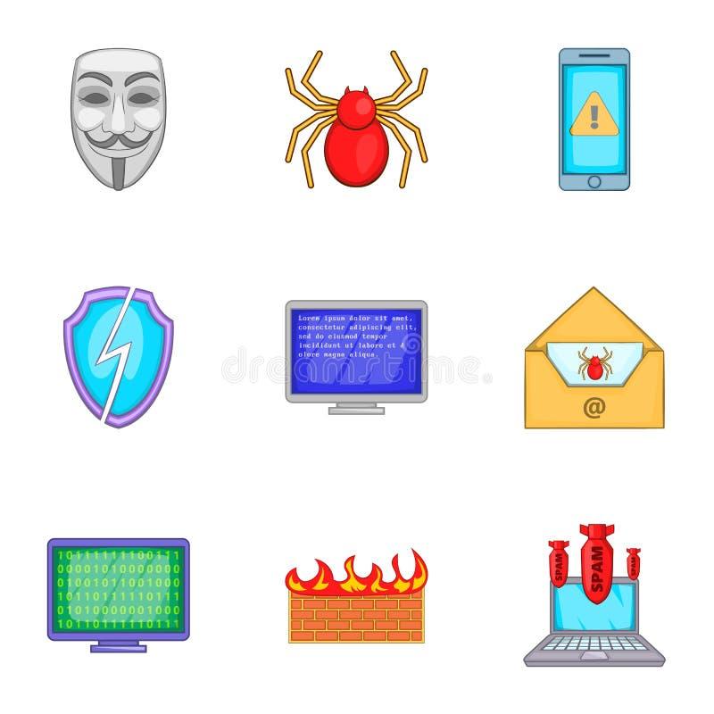 Download Ícones Ajustados, Estilo Do Vírus Dos Desenhos Animados Ilustração do Vetor - Ilustração de envelope, dados: 80101272
