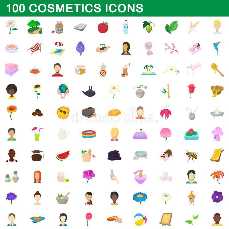 100 ícones ajustados, estilo dos cosméticos dos desenhos animados ilustração stock