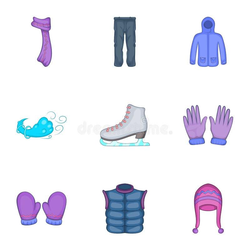 Download Ícones Ajustados, Estilo Dos Equipamentos Do Inverno Dos Desenhos Animados Ilustração do Vetor - Ilustração de chapéu, revestimento: 80102320