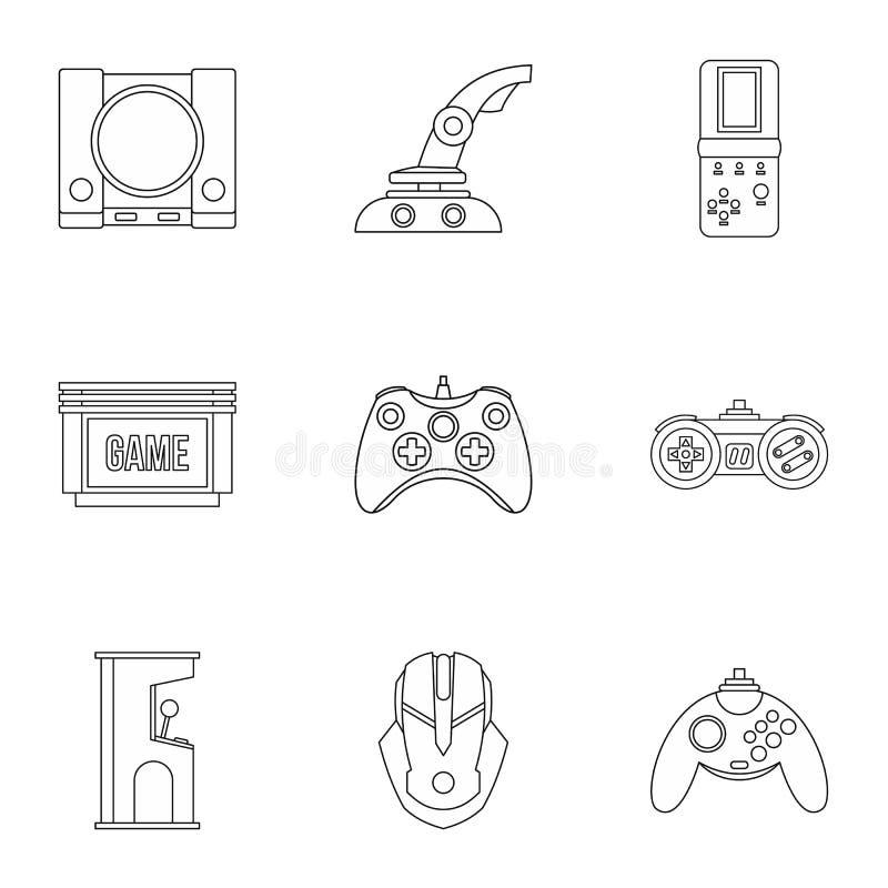 Ícones ajustados, estilo dos jogos de computador do esboço ilustração stock