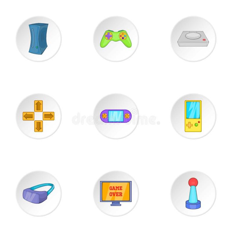 Ícones ajustados, estilo dos jogos de computador dos desenhos animados ilustração royalty free