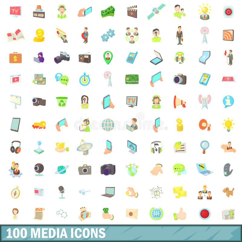 100 ícones ajustados, estilo dos meios dos desenhos animados ilustração royalty free