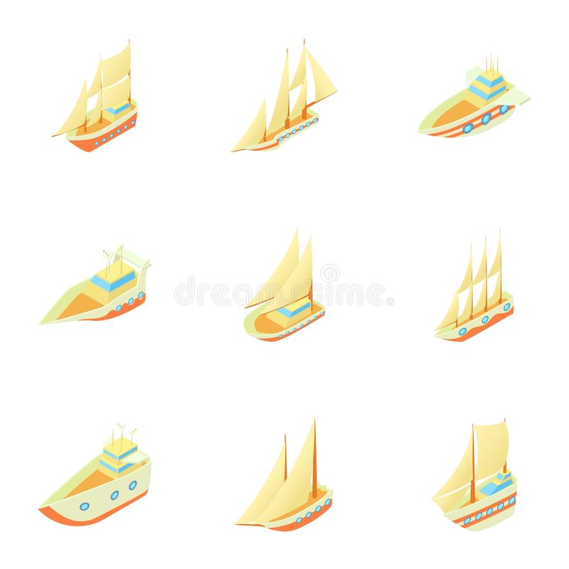 Ícones ajustados, estilo dos navios dos desenhos animados ilustração stock
