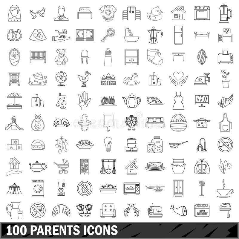 100 ícones ajustados, estilo dos pais do esboço ilustração do vetor