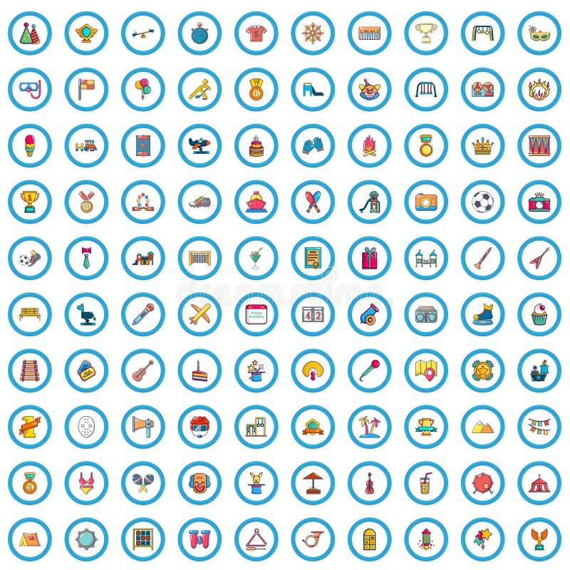 100 ícones ajustados, estilo dos partidos das crianças dos desenhos animados ilustração royalty free