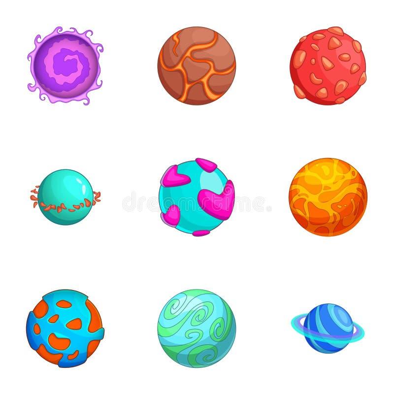Ícones ajustados, estilo dos planetas do espaço dos desenhos animados ilustração royalty free