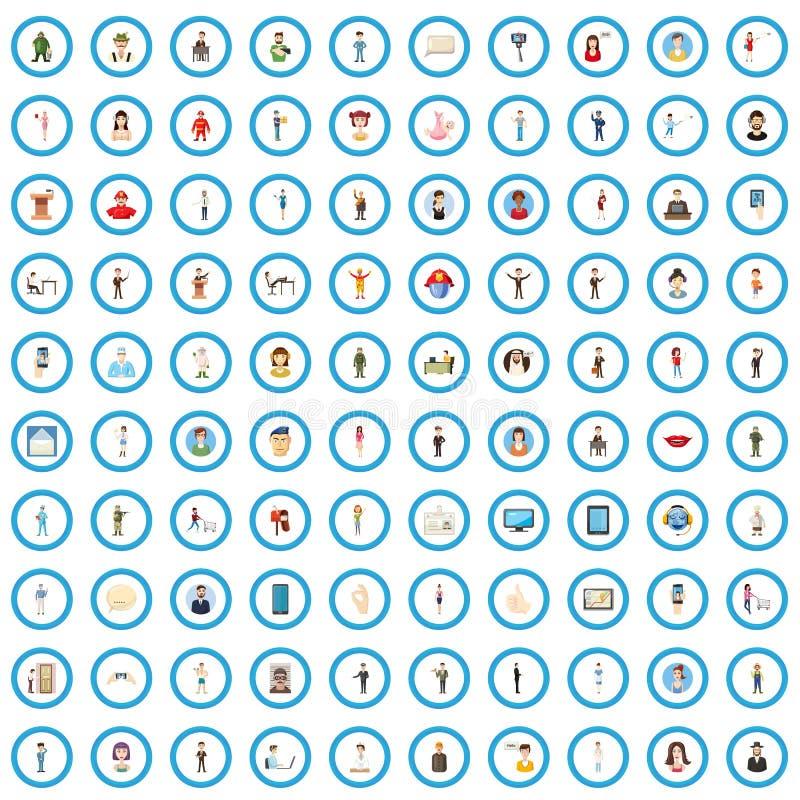 100 ícones ajustados, estilo dos povos dos desenhos animados ilustração stock