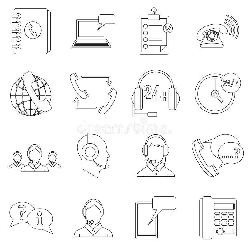 Ícones ajustados, estilo dos símbolos do centro de atendimento do esboço ilustração stock
