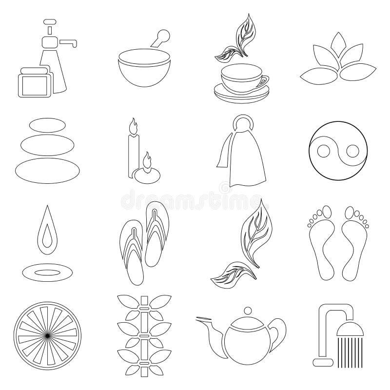 Ícones ajustados, estilo dos termas do esboço ilustração stock
