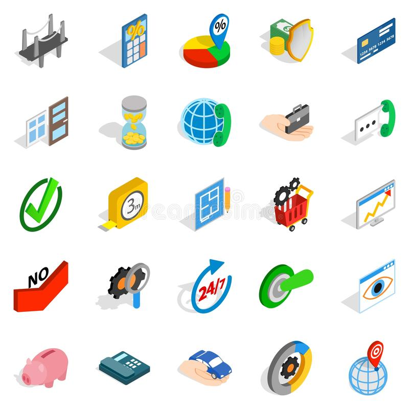 Ícones ajustados, estilo isométrico do conceito ilustração stock