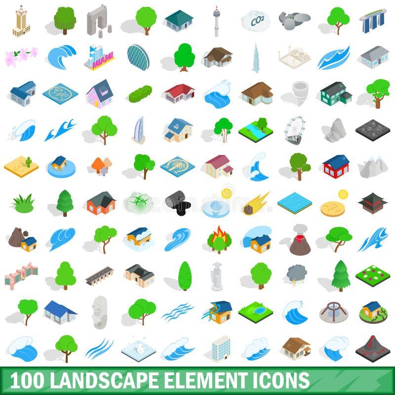 100 ícones ajustados, estilo isométrico do elemento da paisagem ilustração royalty free