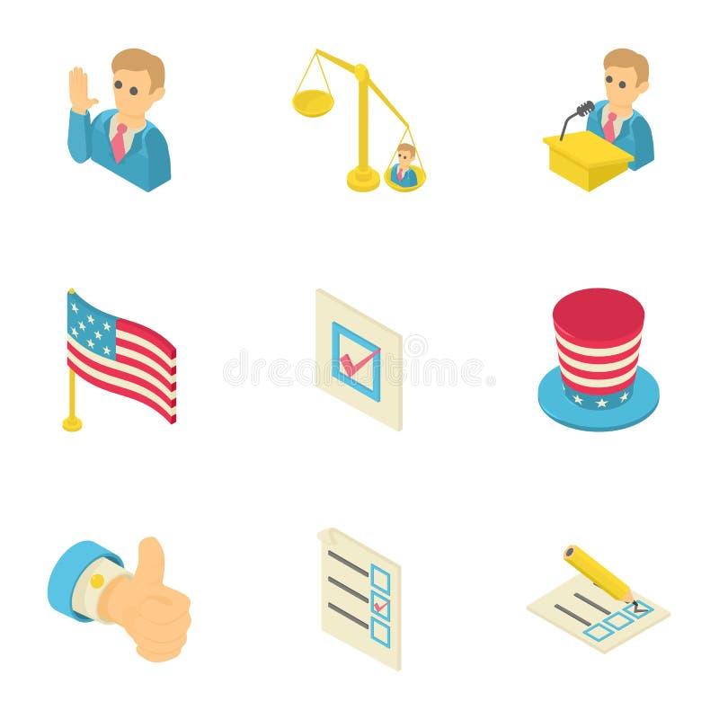 Ícones ajustados, estilo isométrico do sonho americano ilustração do vetor