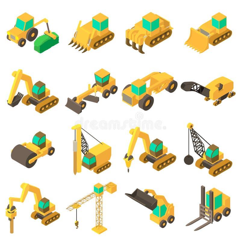 Ícones ajustados, estilo isométrico dos veículos da construção ilustração do vetor