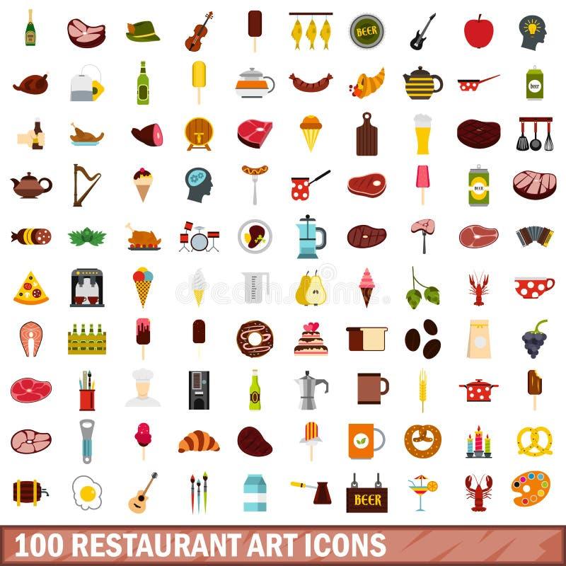 100 ícones ajustados, estilo liso da arte do restaurante ilustração royalty free