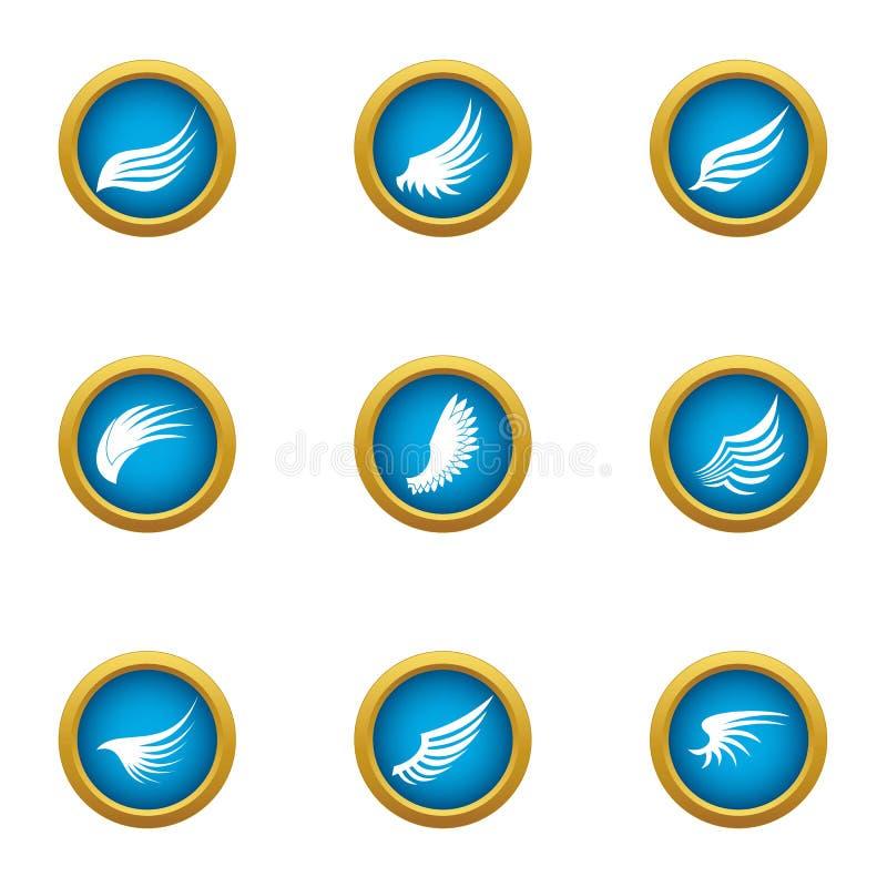 Ícones ajustados, estilo liso da asa do flapping ilustração stock