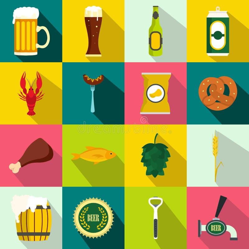 Ícones ajustados, estilo liso da cerveja ilustração do vetor