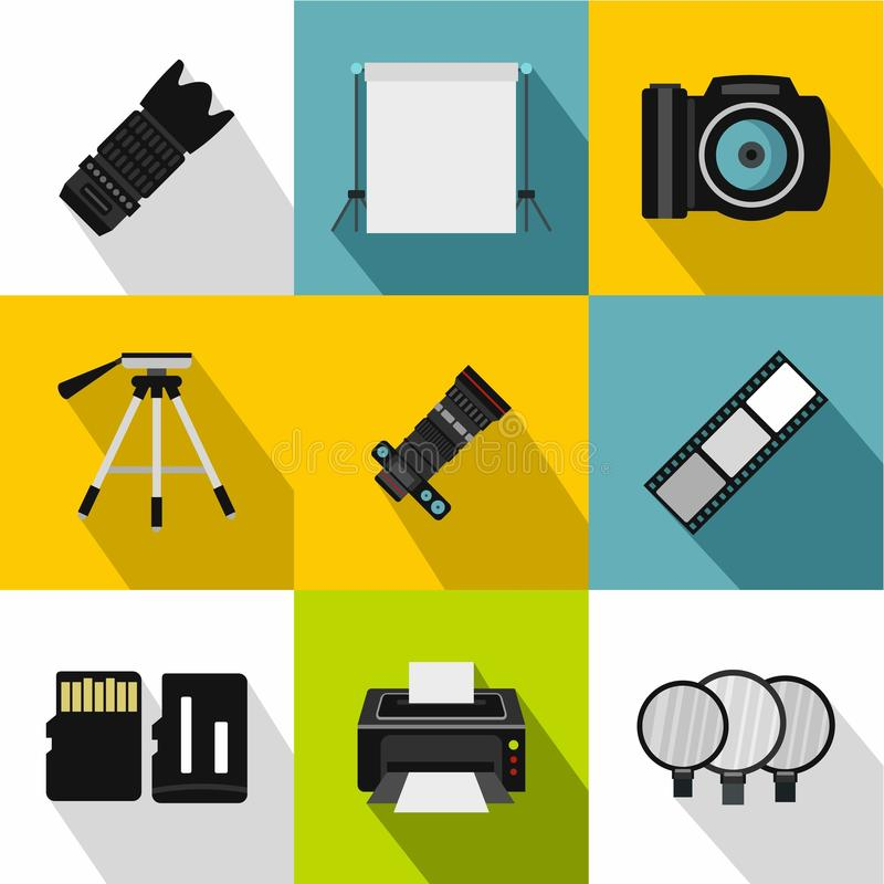 Ícones ajustados, estilo liso da fotografia ilustração stock