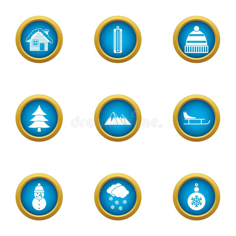 Ícones ajustados, estilo liso da guarda florestal da floresta ilustração stock