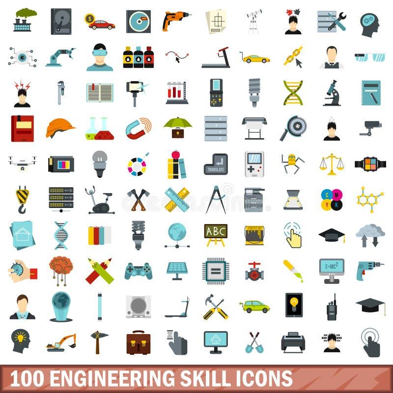 100 ícones ajustados, estilo liso da habilidade de engenharia ilustração royalty free