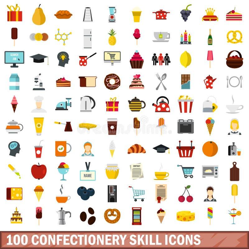 100 ícones ajustados, estilo liso da habilidade dos confeitos ilustração stock