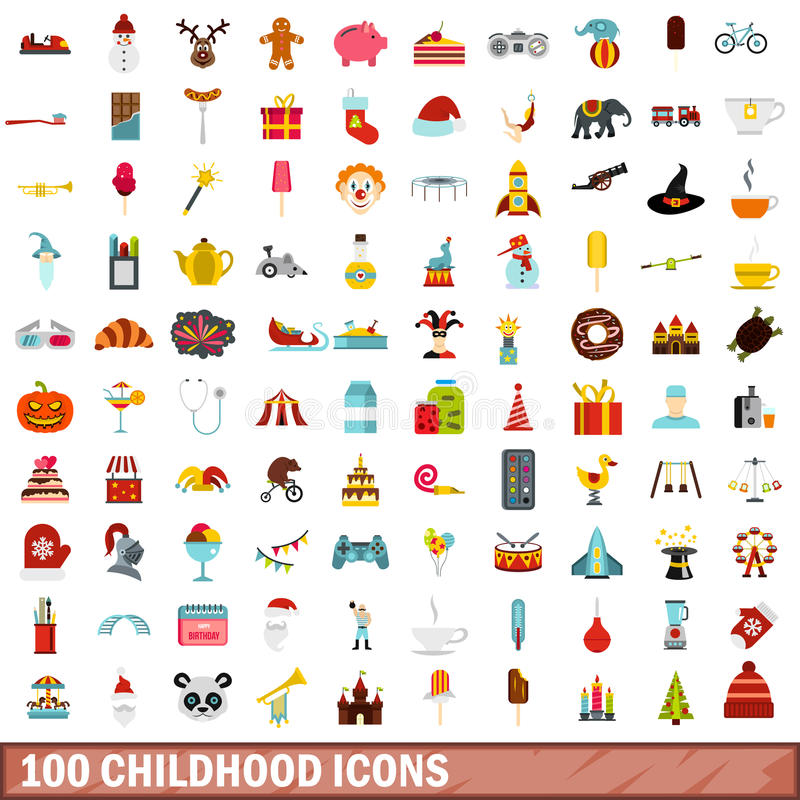 100 ícones ajustados, estilo liso da infância ilustração stock