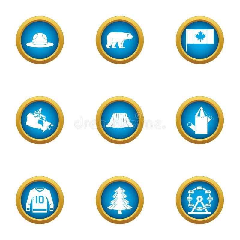 Ícones ajustados, estilo liso da inteligência de Canadá ilustração royalty free