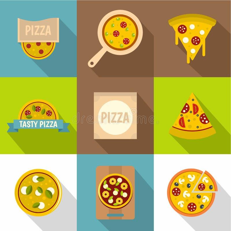 Ícones ajustados, estilo liso da loja de pizza ilustração stock