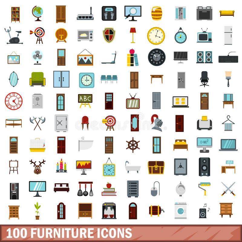 100 ícones ajustados, estilo liso da mobília ilustração stock
