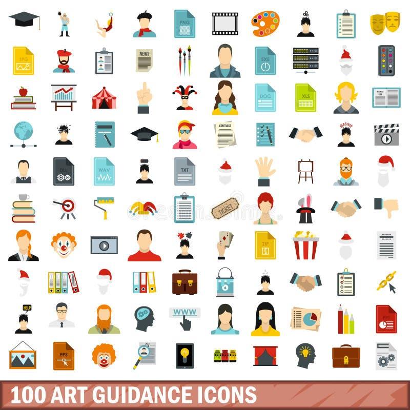 100 ícones ajustados, estilo liso da orientação da arte ilustração stock