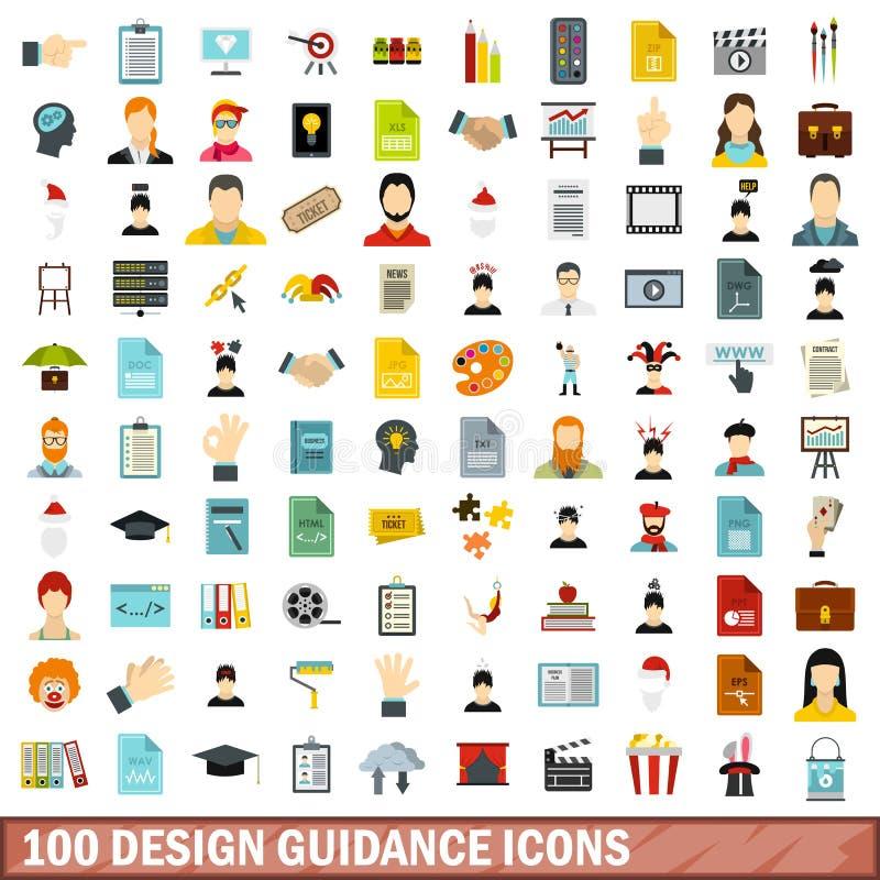 100 ícones ajustados, estilo liso da orientação do projeto ilustração royalty free