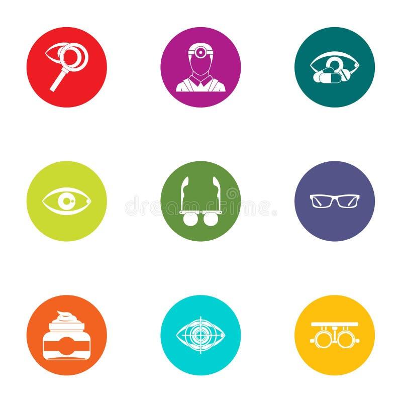 Ícones ajustados, estilo liso da visão do deleite ilustração stock