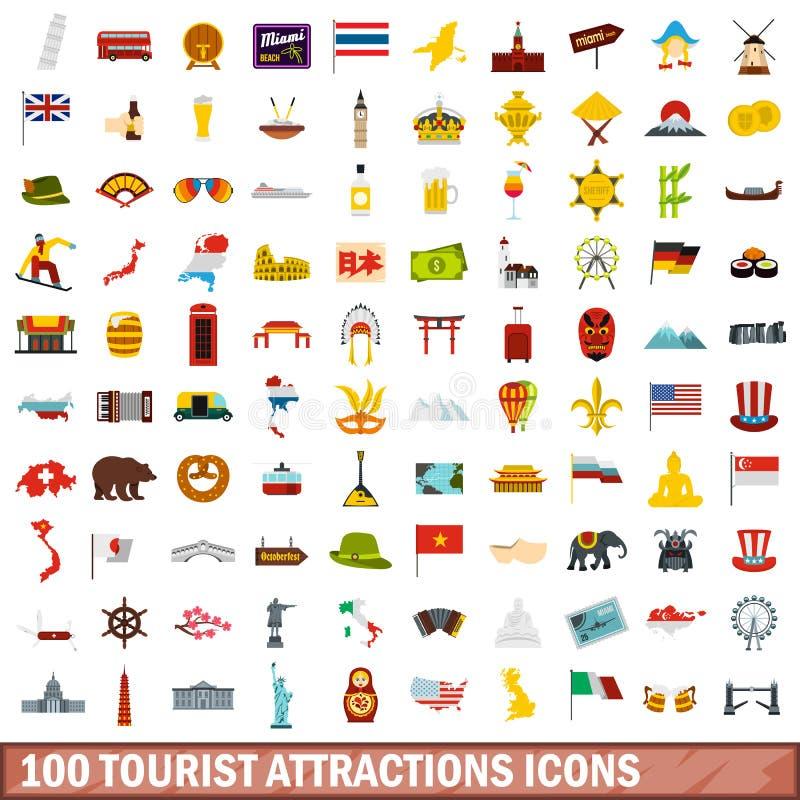 100 ícones ajustados, estilo liso das atrações turísticas ilustração stock