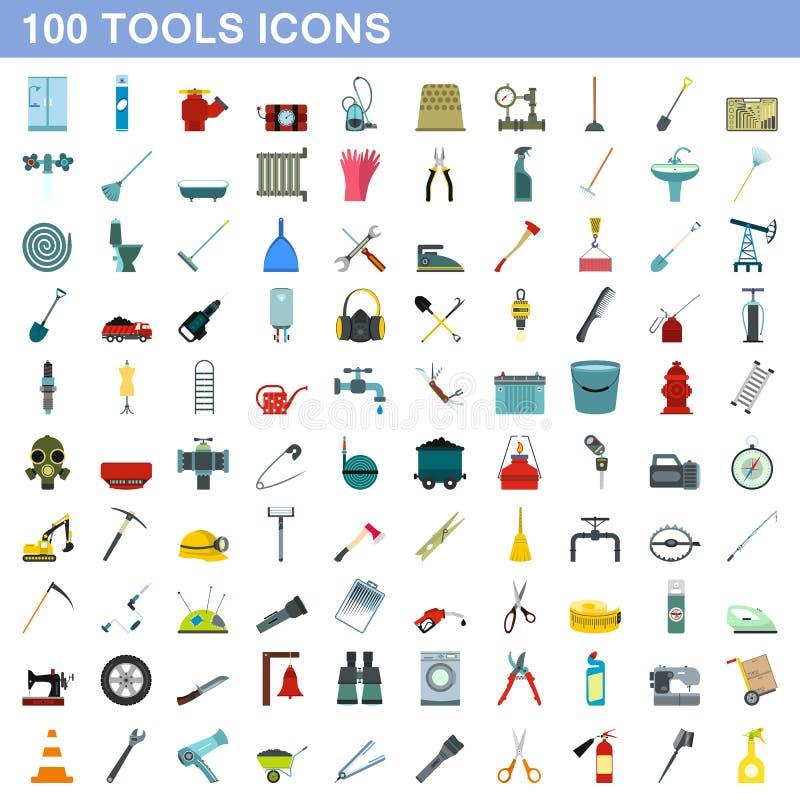 100 ícones ajustados, estilo liso das ferramentas ilustração stock
