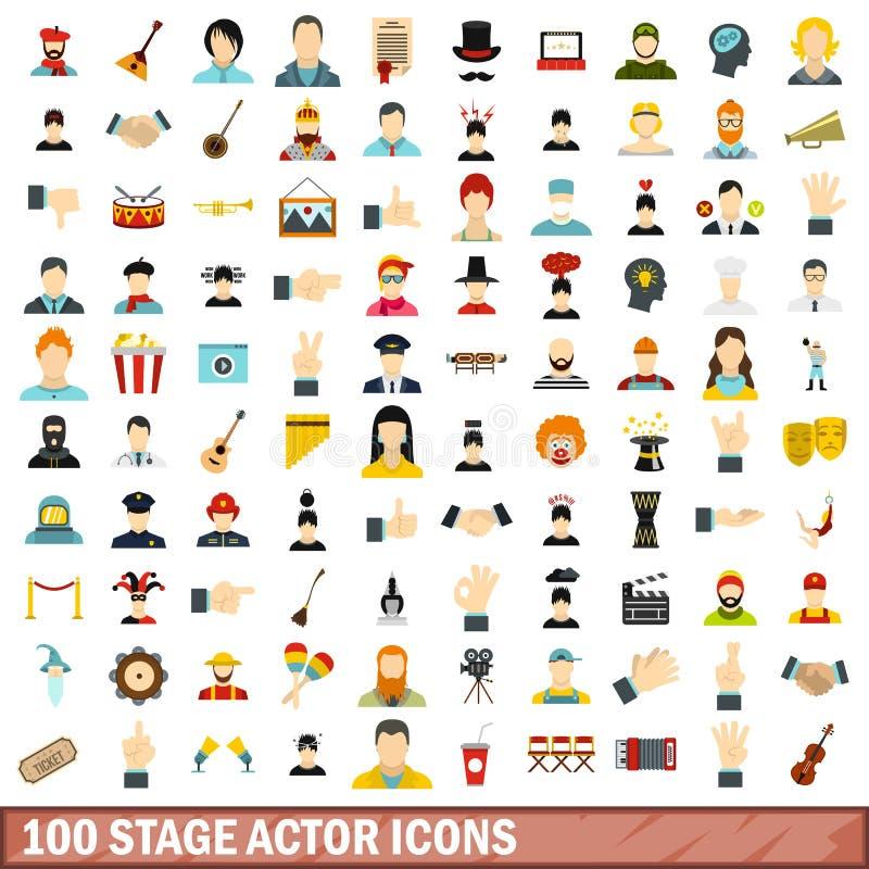 100 ícones ajustados, estilo liso do ator de fase ilustração royalty free