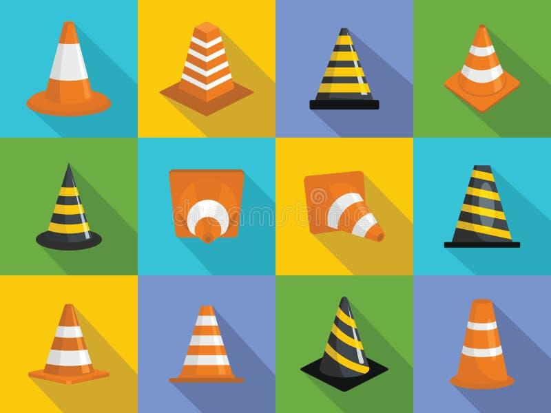 Ícones ajustados, estilo liso do cone do tráfego ilustração stock