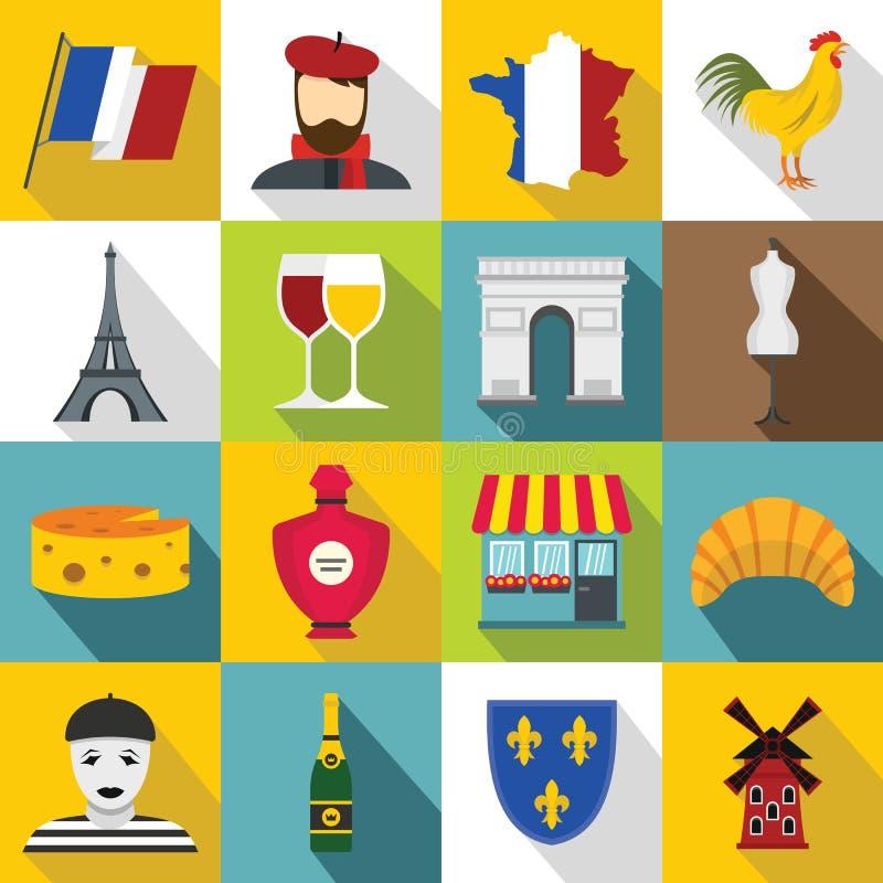 Ícones ajustados, estilo liso do curso de França ilustração do vetor