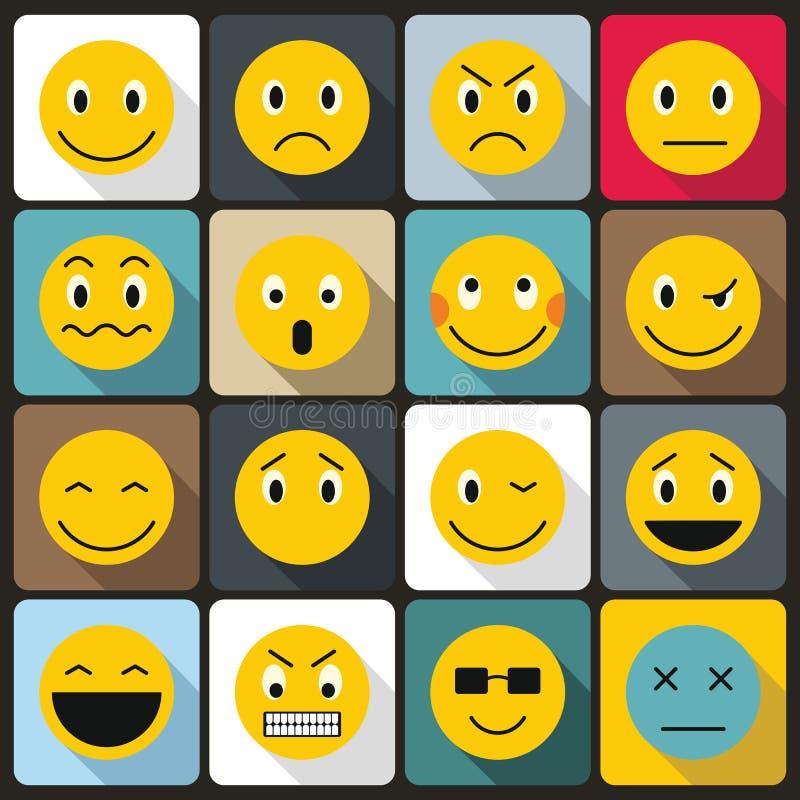 Ícones ajustados, estilo liso do Emoticon ilustração stock