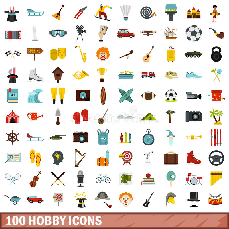 100 ícones ajustados, estilo liso do passatempo ilustração royalty free