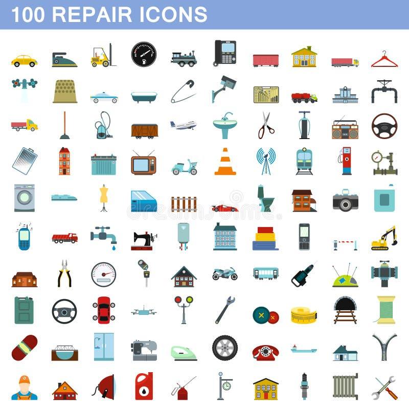 100 ícones ajustados, estilo liso do reparo ilustração royalty free