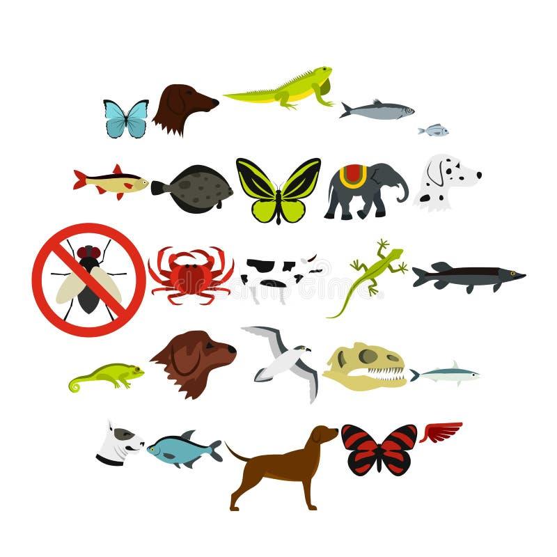 Ícones ajustados, estilo liso dos animais selvagens ilustração royalty free